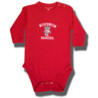 College Kids Infant Wisconsin Long Sleeve Onesie (Red)