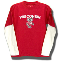 College Kids Toddler's Long Sleeve Wisconsin T-Shirt (Red)