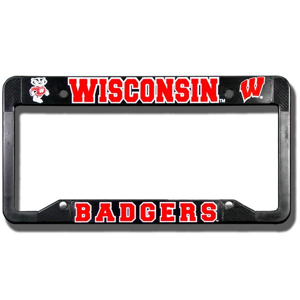 Spirit Products Badgers Plastic License Plate Frame (Black ...
