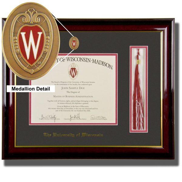 framing success medallion with tassel diploma frame