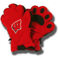 Bear Hands and Buddies Adult Wisconsin Mittens (Red)