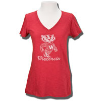'47 Brand Women's Wisconsin V-Neck T-Shirt (Red)