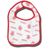 Third Street Wisconsin and Bucky Badger Infant Bib (White)
