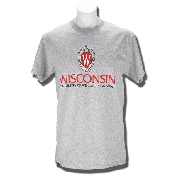 Jansport Wisconsin Shield T Shirt Gray University