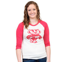 League Women's Bucky Badger Baseball T-Shirt (Red/White)