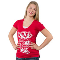 JanSport Women's Bucky Badger V-Neck T-Shirt (Red)*
