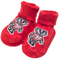 Creative Knitwear Bucky Badger Newborn Booties (Red)
