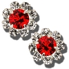 Fan Flirties Baby Daizie Earrings (White/Red)