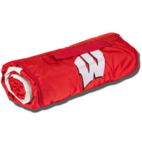 Logo Chair All Weather Wisconsin Blanket (Red)