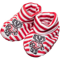 Creative Knitwear Bucky Badger Infant Booties (Red/White)