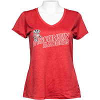 Champion Women's Wisconsin Badgers Quick Dry V-Neck (Red)