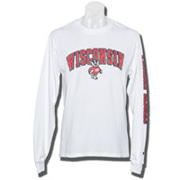 Champion WI Bucky Badger Long Sleeve T-Shirt (White)