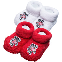 For Bare Feet Infant Bootie Set (Red/White)