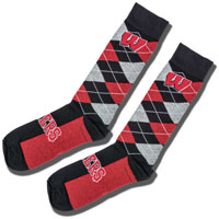 For Bare Feet Wisconsin Argyle Dress Socks (Black/Red/Gray)