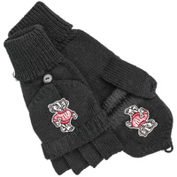 Logofit Flip Top Bucky Badger Mittens (Black)