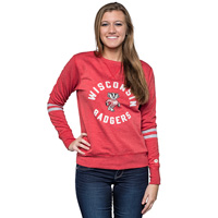 Image For Alta Gracia Women's Wisconsin Badgers CrewNeck Vintage Red*