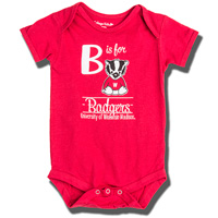 Cover Image For College Kids B is for Bucky Onesie (Red)