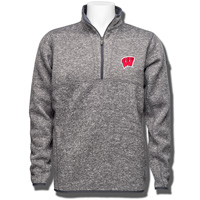 Image For Antigua Wisconsin W ¼ Zip Knit Sweater (Gray) *