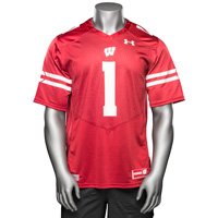 Image For Under Armour WI Replica Football Jersey #1 (Red) *