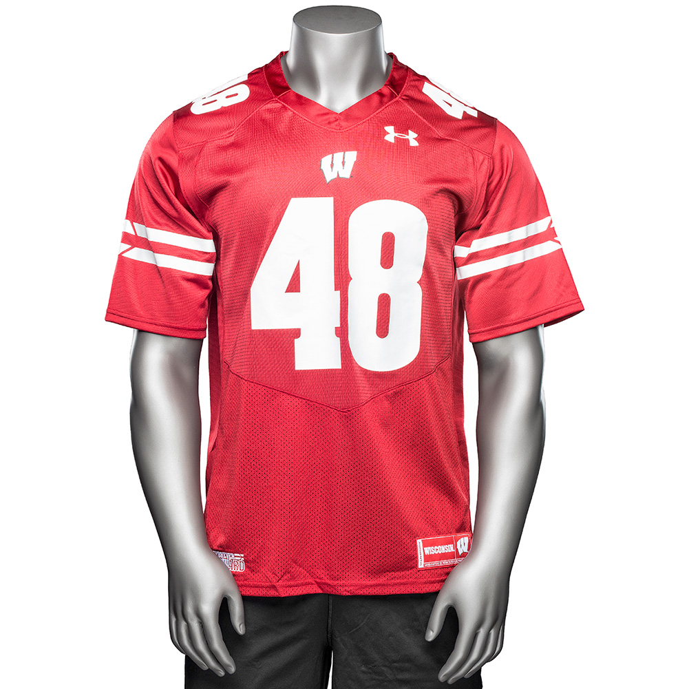 new concept 898b6 b864e Under Armour WI Replica Football Jersey #48 (Red ...