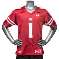 Cover Image For Under Armour Youth WI Replica Football Jersey #1 (Red) *