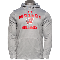 Image For Under Armour WI Badgers Fleece Hooded Sweatshirt (Gray) *