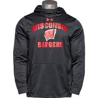 Image For Under Armour WI Badgers Fleece Hooded Sweatshirt (Black) *