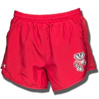 Cover Image For Under Armour Women's Bucky Badger Run Shorts (Red) *