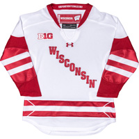 Cover Image For Under Armour Youth Wisconsin Hockey Jersey (White)