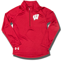 Image For Under Armour Girl's Wisconsin ¼ Zip (Red) *
