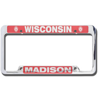 Cover Image For LXG Inc. Wisconsin Madison License Plate Frame (Silver/Red)*