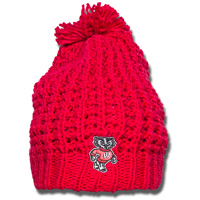 Image For Logofit Bucky Badger Chunky Knit Winter Hat (Red)