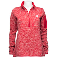 Cover Image For Antigua Women's Wisconsin ¼ Zip Sweater (Red) *