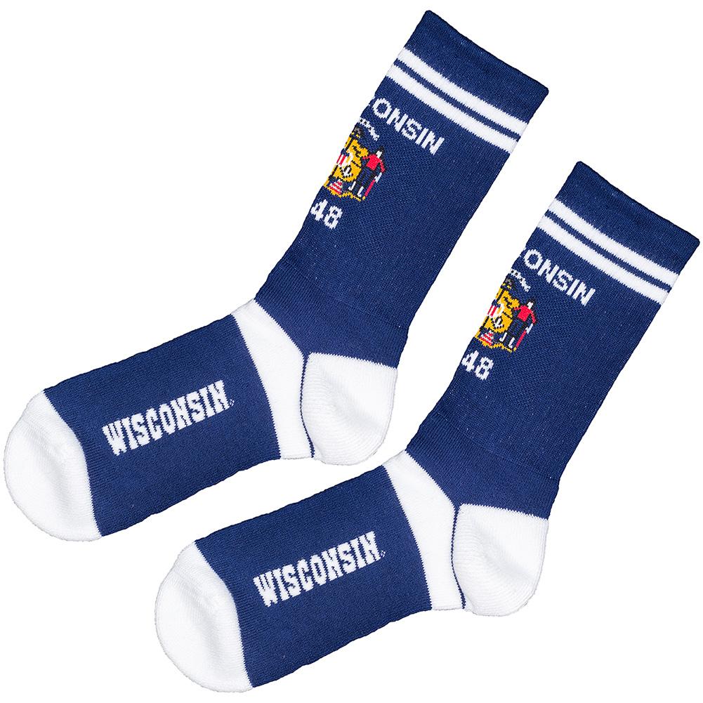 For Bare Feet Wisconsin State Flag Socks Blue White University