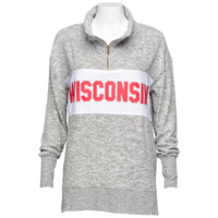 Cover Image For Chicka-d Women's Wisconsin ¼ Sweater (Gray/White) *