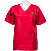 Cover Image For CID Women's Wisconsin Badgers Scrub Top (Red)