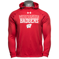 Image For Under Armour Wisconsin Popover Hood Sweatshirt (Red) *