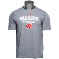 Image For Under Armour Badgers Wisconsin Short Sleeve (Gray) *