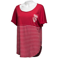 Cover Image For Spirit Jersey Women's Wisconsin Short Sleeve T-Shirt (Red) *