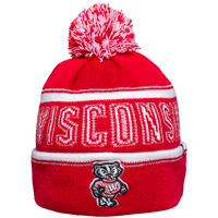 Cover Image For '47 Brand Women's Wisconsin Knit Hat (Red/Silver/White)