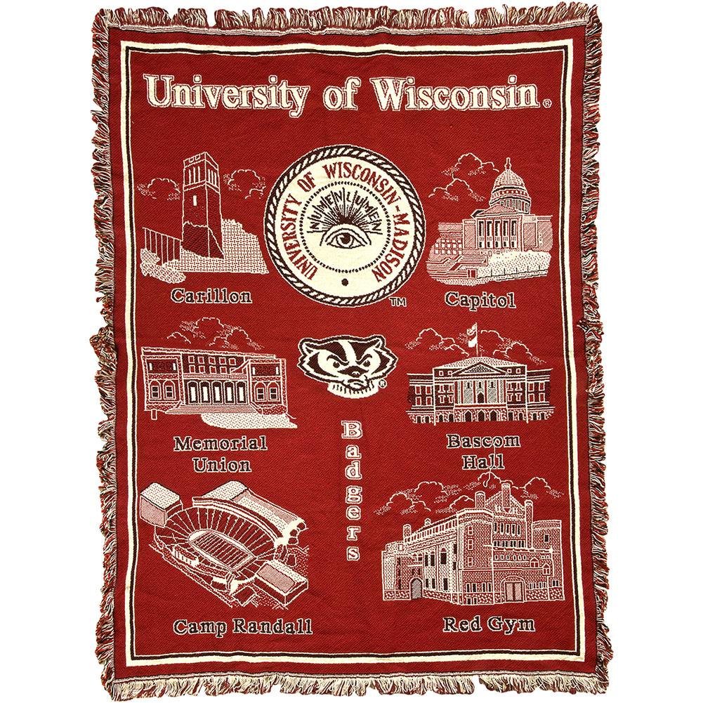 Branding Bascom Hall With Big Red W >> O Woven Blanket Uw Scenes University Book Store