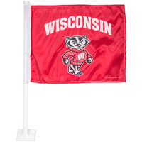 Cover Image For Rico Industries Wisconsin Badgers Car Flag (Red)