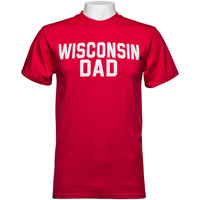 Image For Blue 84 Wisconsin Dad Block Letter T-Shirt (Red)