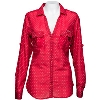 Image for Columbia Women's Poke A Dot Wisconsin Button Up (Red) *