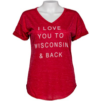 Cover Image For Blue 84 Women's Wisconsin Love T-Shirt (Red)
