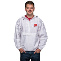 Image For Champion Wisconsin Badger Hooded Pack N Go Jacket (White)