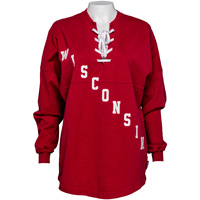 Cover Image For Spirit Jersey Women's Wisconsin Lace Up Long Sleeve (Red)