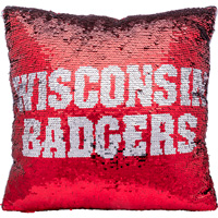 Image For Forever Collectibles Wisconsin Sequin Pillow (Red/Silver)