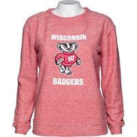 Image For Boxercraft Youth Wisconsin Bucky Badger Cozy Crew (Red) *