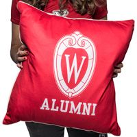 Cover Image For League Wisconsin Alumni Throw Pillow (Red)